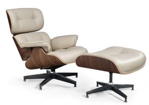 Poltrona Charles Eames com Puff - Bege